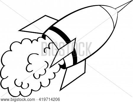 Black And White Illustration Of A Rocket Ship Blasting Off.