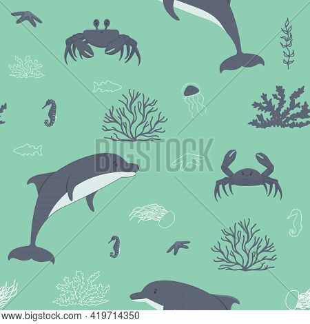 Cute Dolphins, Crabs, Corals, Algae, Sea Horse, Jellyfish Sea Ocean Animals Seamless Pattern. Vector
