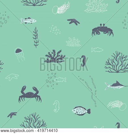 Cartoon Cute Jellyfish, Fish, Coral, Algae, Crab, Seahorse Seamless Pattern On Aquamarine Background