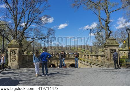 New York City - September 29: Bethesda Terrace In Central Park Was Finished In 1864, Shows Up In Man