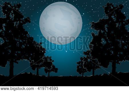 Landscape With Moon, Trees Silhouettes And Path. Night Sky And Moonlight. Evening Scenery In The Cou