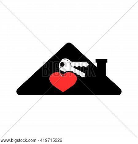 Keychain Shaped Heart With Two Keys On Ring And House. Vector Icon Home And Logo. Clipart And Drawin