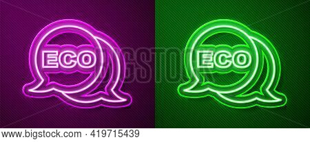 Glowing Neon Line Banner, Label, Tag, Logo For Eco Green Healthy Food Icon Isolated On Purple And Gr