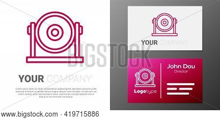 Logotype Line Gong Musical Percussion Instrument Circular Metal Disc Icon Isolated On White Backgrou
