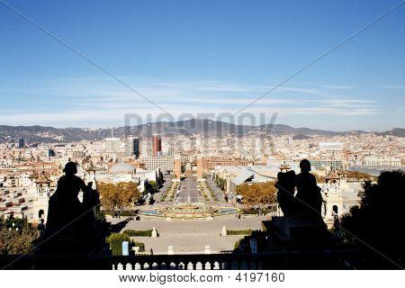 Overlooking The Beautiful City Of Barcelona.