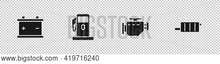 Set Car Battery, Petrol Or Gas Station, Check Engine And Muffler Icon. Vector