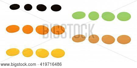 Set Of Different Lentils Isolated On White Background. Cartoon Vector Black, Yellow, Green And Brown