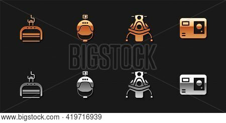 Set Ski Lift, Helmet And Action Camera, Snowmobile And Action Extreme Icon. Vector