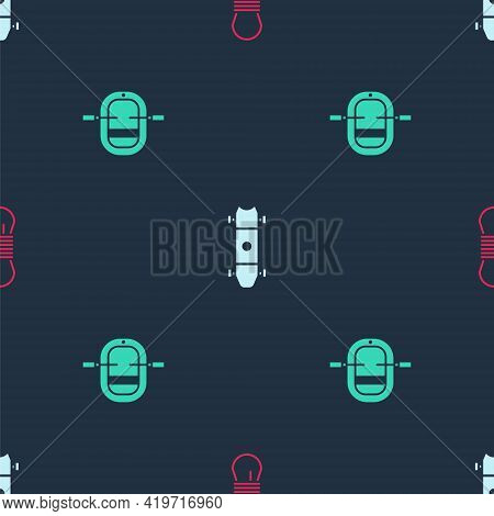 Set Climber Rope, Longboard Or Skateboard And Rafting Boat On Seamless Pattern. Vector