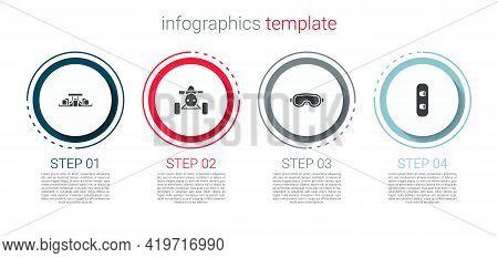 Set Formula 1 Racing Car, Atv Motorcycle, Ski Goggles And Snowboard. Business Infographic Template.