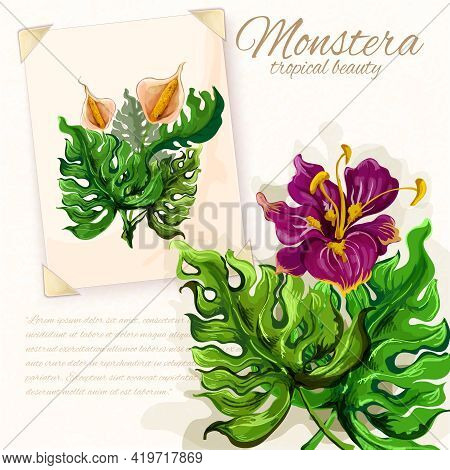 Exotic Monstera Plant Opulent Green Leaves With Hibiscus Flower Tropical Beauty Pictograms Collectio