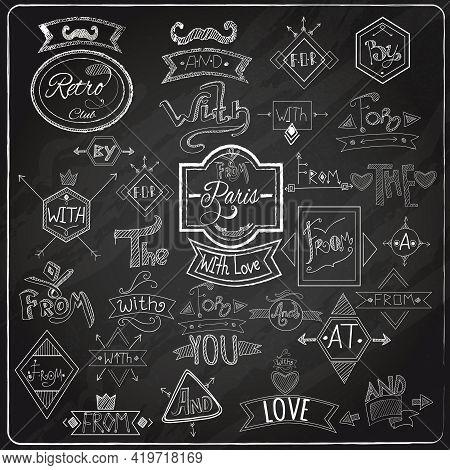 Chalk Written Prepositions Catchwords Signs Collection With Paris Romantic Heart Love  Emblem Compos