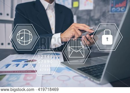 Protection Network Security Computer Data And Safe   Financial Stability Businessman Pressing Key Ke