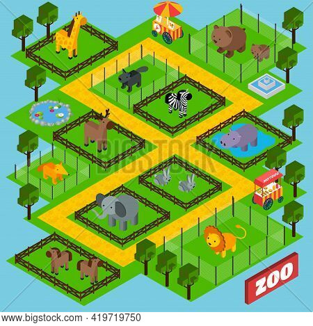 Isometric Zoo Park Concept With 3d Animals In Cages Vector Illustration