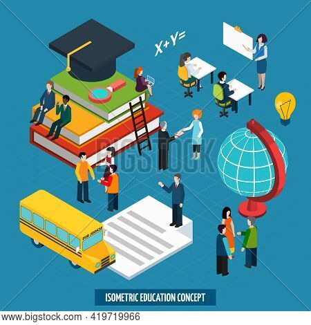 High School College Education Concept With Teacher Whiteboard Presentation And Graduation Cap Isomet