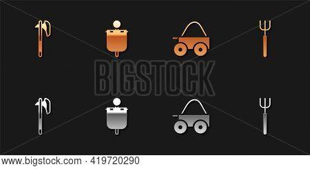 Set Medieval Axe, Flag, Wooden Four-wheel Cart And Garden Pitchfork Icon. Vector