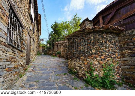Old Town Alley With Stone Houses And Old Stone Wood-fired Oven. Patones De Arriba Madrid. Spain.