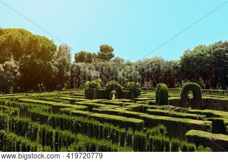 Famous Labyrinth In Park Of The Labyrinth Of Horta (parc Del Laberint D'horta) In Barcelona, Spain
