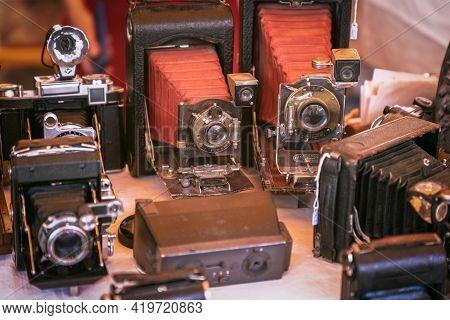 Barcelona - Spain. June 27, 2019: Сollection Of Vintage Photo Cameras (vintage Photo Effect)