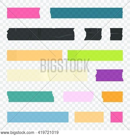 Adhesive Tape, Sticky Paper Stripes. Colorful Stripes And Pieces Of Duct Paper, Scotch Or Washi Pape