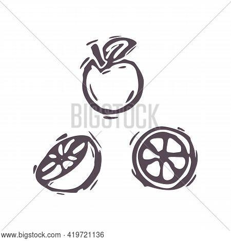 Hand Carved Bold Block Print Orange Fruit Icon Clip Art. Folk Illustration Design Element. Modern Bo
