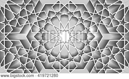 Seamless Islamic Pattern, White Line Art Persian Mosaic Motif. Ramadan Banner Arabic Round Pattern E
