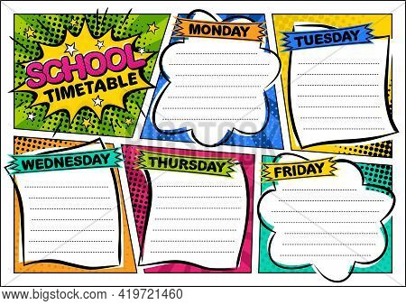 Comic Template Of A School Schedule For 5 Days Of The Week. Cartoon Blank For A List Of School Subje