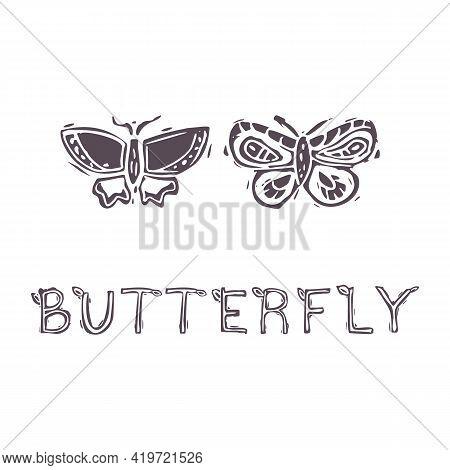 Hand Carved Bold Block Print Butterfly Text Icon Clip Art. Folk Illustration Design Element. Modern