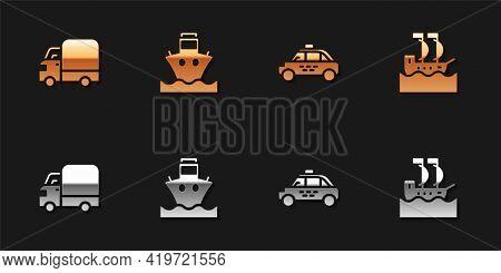 Set Delivery Cargo Truck, Cargo Ship, Taxi And Sailboat Icon. Vector