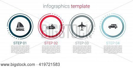 Set Yacht Sailboat, Submarine, Plane And Hatchback Car. Business Infographic Template. Vector