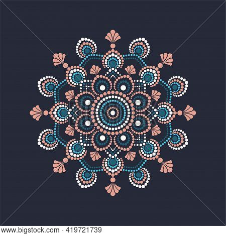 Dot Painting Meets Mandalas. Aboriginal Style Of Dot Painting And Power Of Mandala. Decorative Flowe