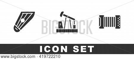 Set Kankles, Oil Pump Or Pump Jack And Accordion Icon. Vector