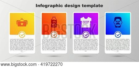 Set Ushanka, Pickled Cucumbers In Jar, Ussr T-shirt And Joseph Stalin. Business Infographic Template