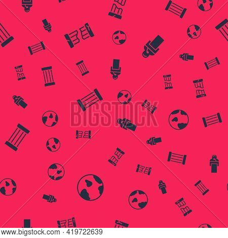 Set Earth Globe, Broken Ancient Column, Ancient And Gives Lecture On Seamless Pattern. Vector