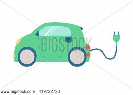Cute Electric Car With Cable And Socket, Concept Of Ecology And Clean Energy. Hand-drawn Vector Illu