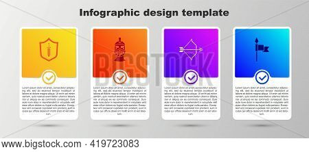 Set Medieval Shield With Sword, Iron Helmet, Bow And Arrow And Spear. Business Infographic Template.