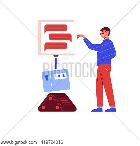 Online Customer Support Flat Concept With Man Having Conversation With Chatbot Vector Illustration