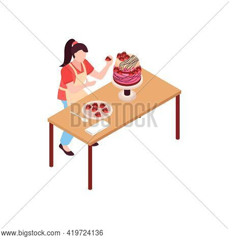 Confectioner Decorating Cake With Berries Isometric Vector Illustration