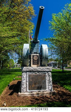 NORWALK, CONNECTICUT - MAY 6, 2021: WWI War Memorial  at Norwalk Green with Gazebo on The Green
