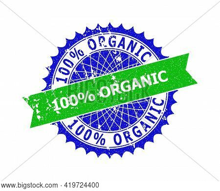 Vector 100 Percents Organic Bicolor Stamp Seal With Rubber Style. Blue And Green Colors. Flat Seal S