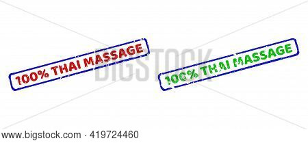 Vector 100 Percents Thai Massage Framed Imprints With Unclean Style. Rough Bicolor Rectangle Stamps.
