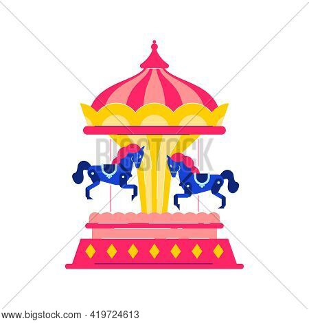 Circus Funfair Composition With Isolated Image Of Spinning Carousel With Horses Vector Illustration