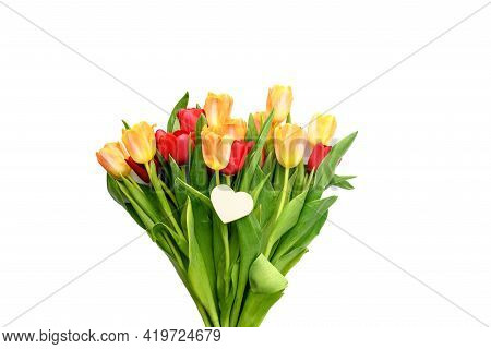 Bouquet Of Yellow And Red Tulips With A Small Heart Isolated On White Background. Spring And Summer
