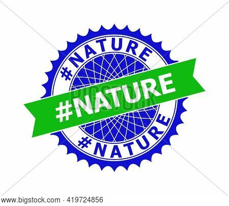 Vector Hashtag Nature Bicolor Template For Imprints With Clean Surface. Flat Clean Seal Template Wit