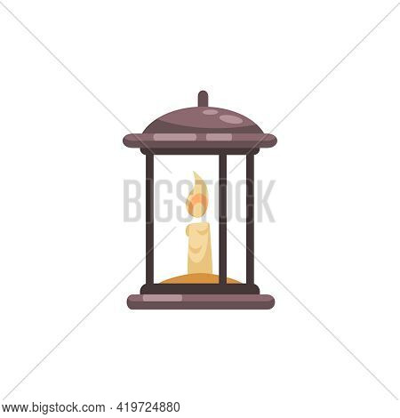 Old Library Interior Composition With Isolated Image Of Burning Candle Inside Vintage Lamp Case Vect