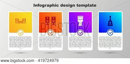 Set Home Stereo, Stereo Speaker, Drum And Balalaika. Business Infographic Template. Vector