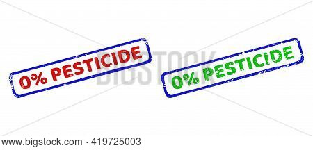 Vector 0 Percents Pesticide Framed Imprints With Grunge Texture. Rough Bicolor Rectangle Seals. Red,