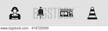 Set Firefighter, Ringing Alarm Bell, Truck And Traffic Cone Icon. Vector