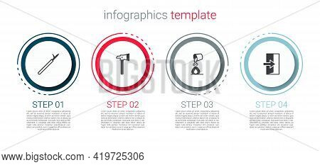 Set Metal Pike Pole, Firefighter Axe, Bucket Extinguishing Fire And Exit. Business Infographic Templ