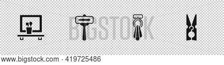 Set Washbasin Mirror, Shaving Razor, Towel On Hanger And Clothes Pin Icon. Vector